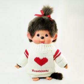 Monchhichi 紅心毛衣女孩(中型)
