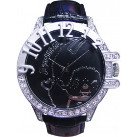 黑色Monchhichi真皮手錶