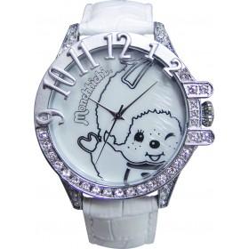 白色Monchhichi真皮手錶