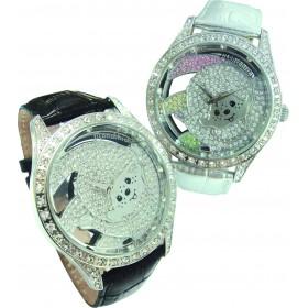 銀色Monchhichi真皮手錶