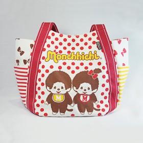 Monchhichi 帆布袋(紅色圓點)(大)