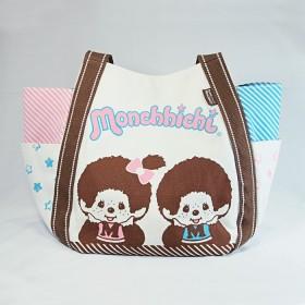 Monchhichi 帆布袋(粉紅粉藍間條)(大)