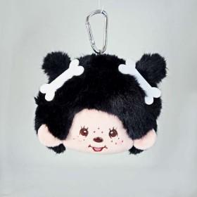Monchhichi 大頭骷髏骨頭女孩(黑色) 零錢包/卡套