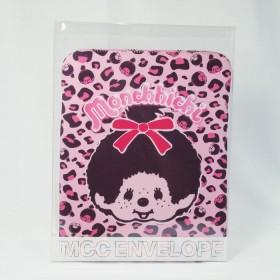 Monchhichi 粉色豹紋多功能袋/ ipad套