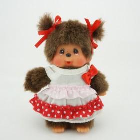 Monchhichi 白點紅裙女孩掛件