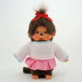 Monchhichi 粉紅裙子運動女孩掛件