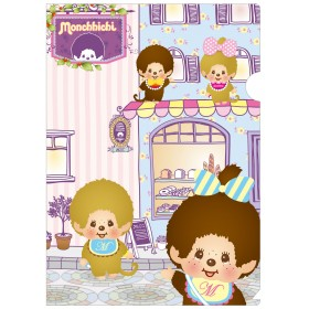 Monchhichi A4粉色咖啡店文件夾